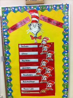 Cat in the Hat Classroom Job Chart Kindergarten Classroom Management, Classroom Helpers, Classroom Jobs, Classroom Organisation, First Grade Classroom, Classroom Design, Preschool Classroom, In Kindergarten, Classroom Decor