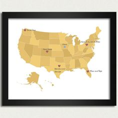 Map with hearts for all the bases or posts you have lived at in the US - MilitaryAvenue.com