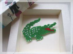 """Броши ручной работы. Ярмарка Мастеров - ручная работа. Купить Брошь крокодильчик """" LACOSTE"""". Handmade. Зеленый, зеленая брошь"""