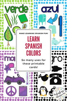 Make learning Spanish colors fun and easy with these printable cards! Use for games, activities, classroom decor, or simply to teach during a lesson. Ready to print and go! Spanish Teaching Resources, Preschool Spanish, Homeschooling Resources, Spanish Classroom, Spanish Lesson Plans, Spanish Lessons, Classroom Board, Classroom Decor, Professor