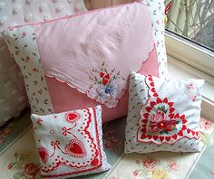 pretty pillows made with vintage heart handkerchiefs