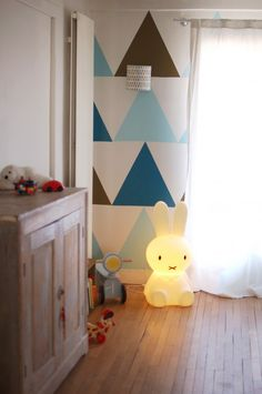 blue and white kids rooms - love the triangle detail