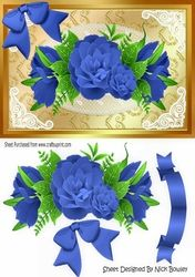 pretty blue roses with blue bow on lace A5 on Craftsuprint - View Now!