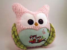 How cute is this?!!  Chubby Chenille Plush Owl  Riley Blake fabric by aprilfoss on Etsy, $35.00