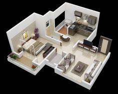 House layouts, small house layout, small house plans, one bedroom flat, 1 b One Bedroom House, One Bedroom Flat, One Bedroom Apartment, House Rooms, Small House Layout, House Layouts, Apartment Floor Plans, Bedroom Floor Plans, 3d House Plans