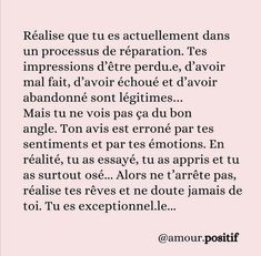 Self Development, Personal Development, French Quotes, French Language, Positive Affirmations, Positive Thoughts, Sentences, Self Love, Quotations