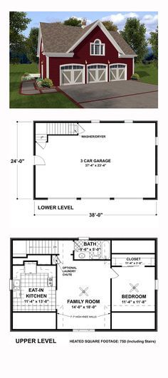 Garage Apartment Plan 93472   Total Living Area: 750 sq. ft., 1 bedroom and 1 bathroom. With siding exterior reminiscent of a country barn, this plan would be perfect temporary quarters during construction of your permanent home. Or it would be ideal for an in-law apartment, nanny quarters, college student apartment, etc. #carriagehouse #garageapartment