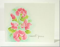 sweet handmade card ... watercolor technique on watercolor paper ... pink sweet peas ... delightful image from Paper Trey Ink ... luv the water coloring on this card ..