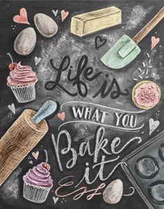 Kitchen Decor - Kitchen Chalkboard Art - Gift for the Baker - Baking Art - Kitchen Art - Illustration Print - For the Bakery - Bakery Art - Cute chalkboard art print for a Shabby Chic kitchen! Chalk It Up, Chalk Art, Kitchen Prints, Kitchen Art, Kitchen Quotes, Kitchen Ideas, Kitchen Tools, Kitchen Mosaic, Bakery Kitchen