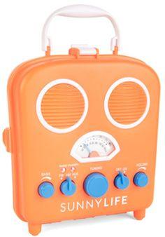 Orange outdoor retro radio