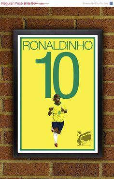 Ronaldinho 10 Soccer Brazil Poster  Ronaldinho, World Cup Football poster      Poster printed on 100% acid-free premium archival fine art paper    The