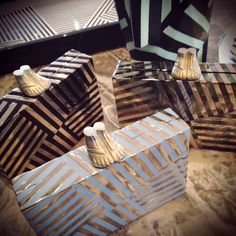 Kelly Wearstler | Fractured Clutches | Black, Sky, or Mother of Pearl and Mirror Stripes. Detachable chain strap included. www.kellywearstler.com