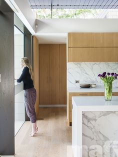 Heritage Home extended and renovated by Tanner Kibble Denton Architects (TKDA) featuring mafi Oak Brushed White Oil in kitchen and living room. Photo by Nicole England.