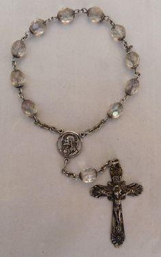 VTG STERLING SILVER CRUCIFIX LADY ST CARMEL SACRED HEART JESUS ROSARY BRACELET