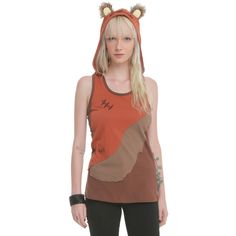 Her Universe Star Wars Her Universe Ewok Hooded Tank ($25) ❤ liked on Polyvore featuring tops, racerback tank tops, racer back tank, hooded tank top, brown tank top and racer back tank top