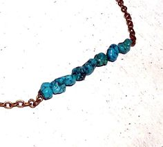 Natural Raw Turquoise Simple Dainty by TheBlueYonderStudio on Etsy, $29.00