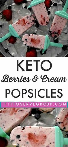 Keto Berries and Cream Popsicles Looking for a healthy, keto popsicle recipe this summer? Well, this recipe for keto berries and cream popsicles makes the perfect frozen treat. It's low in carbs, easy to make and keto-friendly. Keto Friendly Desserts, Low Carb Desserts, Low Carb Recipes, Dessert Recipes, Frozen Desserts, Frozen Treats, Dessert Ideas, Drink Recipes, Breakfast Recipes