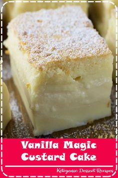 Vanilla Magic Custard Cake is melt-in-your-mouth soft and creamy dessert. It's like hocus pocus! when you put one simple and easy cake batter to bake, then the magic happens! simple gift Vanilla Magic Custard Cake - one batter 3 layers No Bake Desserts, Easy Desserts, Delicious Desserts, Vanilla Desserts, Custard Desserts, Simple Dessert Recipes, Desserts With Ricotta Cheese, Cajun Desserts, Sour Cream Desserts