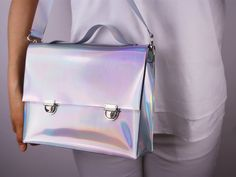 Holographic Convertible Crossbody Satchel Double Buckles Purse Bag Handbag - Detachable Shoulder Strap Belt - Metallic Matte Silver