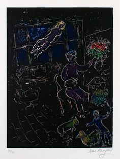 Chagall Hand Signed Color Lithograph | The Studio at Night