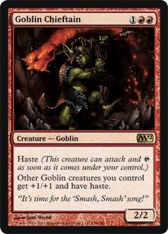Magic: the Gathering - Goblin Chieftain - Magic 2012 by Wizards of the Coast. $2.84. A single individual card from the Magic: the Gathering (MTG) trading and collectible card game (TCG/CCG).. From the Magic 2012 (M12) set.. This is of Rare rarity.. Magic: the Gathering is a collectible card game created by Richard Garfield. In Magic, you play the role of a planeswalker who fights other planeswalkers for glory, knowledge, and conquest. Your deck of cards repres...