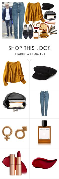 """""""Breakfast with Niall"""" by phenomeniall-style ❤ liked on Polyvore featuring A.P.C., Brixton, Topshop, Helmut Lang, Kat Von D and NiallHoran"""