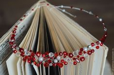 Купить Комплект украшение для прически и серьги в красном цвете - ярко-красный, бордовый, марсала, вишневый