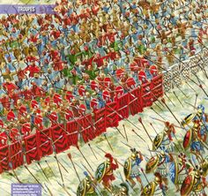 The Athenians charge the persian line at the battle of marathon.