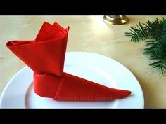 Servietten falten Weihnachten & Nikolaus: Nikolausstiefel - YouTube