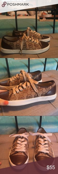 Authentic New Michael Kors Sneakers Tan and brown logo sneakers by Michael Kors. Brand new without tags. 100% Authentic. Size 6. Michael Kors Shoes Sneakers