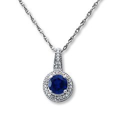 Lab-Created Sapphire Necklace with Diamonds Sterling Silver ..... Something blue and beautiful