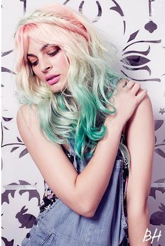 Pastel life:                 ~Gorgeous ombre pastel hair~fishtail braid~waves~rose~blond~minty green~