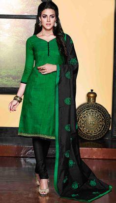 USD 25.00 Green Chanderi Silk Churidar Suit 48512