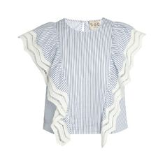Sea Ruffled striped cotton top (€285) ❤ liked on Polyvore featuring tops, blouses, blue white, slit tops, frill blouse, stripe blouse, ruffle top and flutter-sleeve top