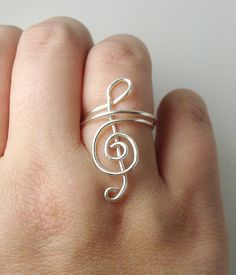 Treble Clef Ring, Silver Wire Wrapped, Music Note Jewelry