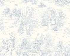 fabric - Garden Tales Blue Toile Fabric Peter Rabbit and other Beatrix Potter characters on a blue toile fabric. A classic selection from the