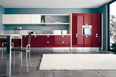 Red Lacquer kitchen cabinets. Ultra modern. Ultra sleek. Ultra delicious.