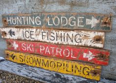 Rustic Ski Signs Ski Patrol, Lift Line, Ski Rentals Ski Decor Skiing Signs Mancave decor Cabin Decor Distressed Wood Log Cabin Sign Set Country Western Decor, Rustic Cabin Decor, Rustic Signs, Wood Signs, Rustic Wood, Décor Ski, Bedford Falls, Ski Decor, Wall Decor