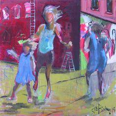 Binky Rise Above 30x30 Mixed media on canvas jab