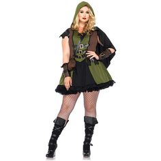 Plus Size Sexy Darling Robin Hood Costume for Women ($75) ❤ liked on Polyvore featuring costumes, halloween costumes, multicolor, plus size, womens costumes, womens halloween costumes, sexy womens halloween costumes, womens green lantern costume and leg avenue costumes