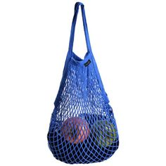 Cosmos ® Cotton Net Shopping Tote Bag Reusable Ecology Market String Bag Organizer (Blue)
