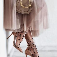 I've been seeing these polka-dot sheer socks with heels popping up and I'm kinda obsessed. Sheer Socks, Lace Socks, Socks And Heels, Fashion Tights, Fashion Outfits, Womens Fashion, Fashion Ideas, Heels Outfits, Unique Shoes