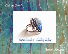 Sterling Jewelry, Sterling Silver Rings, Twitter Tweets, Unique Rings, Lapis Lazuli, Costume Jewelry, Vintage Jewelry, Accessories, Etsy