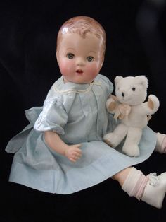 .Vintage composition baby doll, 1930s-1940s.