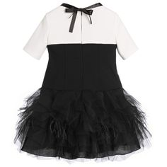 Loredana Le Bellissime - Black & Ivory Dress with Tulle & Feathers