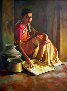 Indian Women Painting, Indian Art Paintings, Indian Artist, Classic Paintings, Indian Artwork, Realistic Paintings, Cool Paintings, Beautiful Paintings, Abstract Paintings