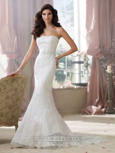 Strapless Lace Appliques Mermaid Wedding Dresses - LightIndreaming