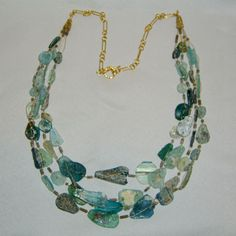 Multistrand Roman Glass Necklace | Bede's Beads Glass Necklace, Turquoise Necklace, Roman, Jewlery, Designers, Beads, My Style, Unique, Handmade