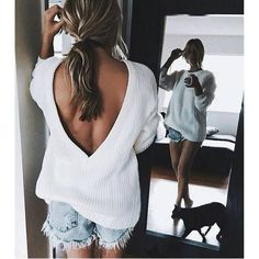 """Open V-back Sweater Loose Pullover Women Basic Casual Knitwear In love with our fave open V Backless KnitåÊ_ÙÕ_åÊ Fabric: Cotton polyester, stretch - Cold hand wash only - Length: / """"http_status"""": window. Look Fashion, Fashion Tips, Fashion Trends, Womens Fashion, Fashion 2016, Cheap Fashion, Latest Fashion, High Fashion, Fashion Fashion"""