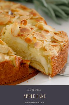 If you're looking for an EASY APPLE CAKE RECIPE... look no further! This one is a classic butter cake, layered with apple slices and topped with flaked almonds. YUM! #easy #apple #cake #recipe #thermomix #conventional #best #homemade #cakes #desserts #almonds #sweet